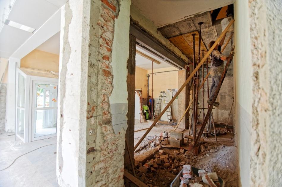 Déchets de chantier dans une construction