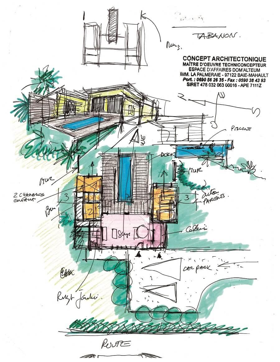 Plan de villa sur-mesure - Concept Architectonique - Guadeloupe